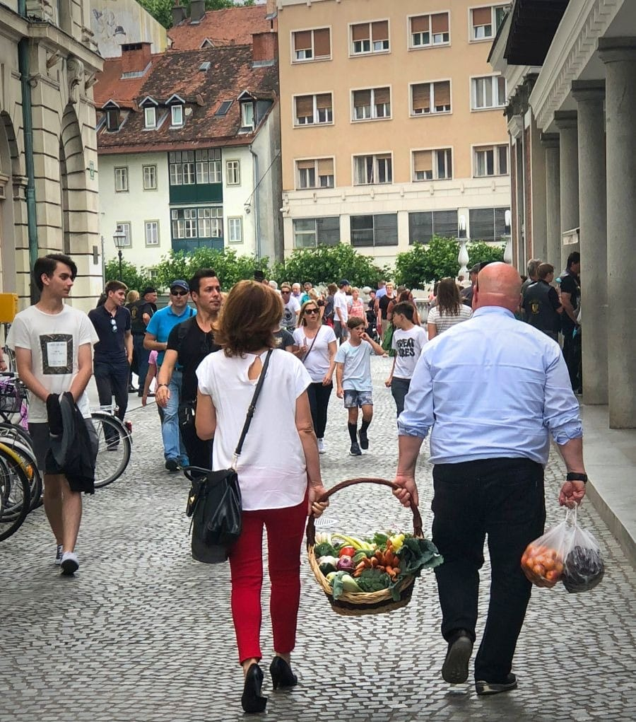 2018 European travel review: Shoppers in Ljubljana, Slovenia